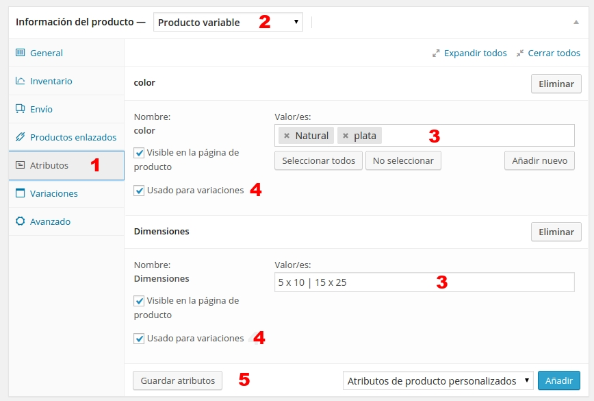 woo commerce producto variable 1