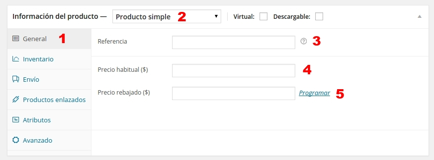 woo commerce producto simple