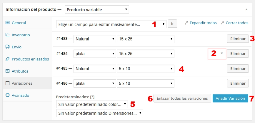 woo commerce producto variable 2