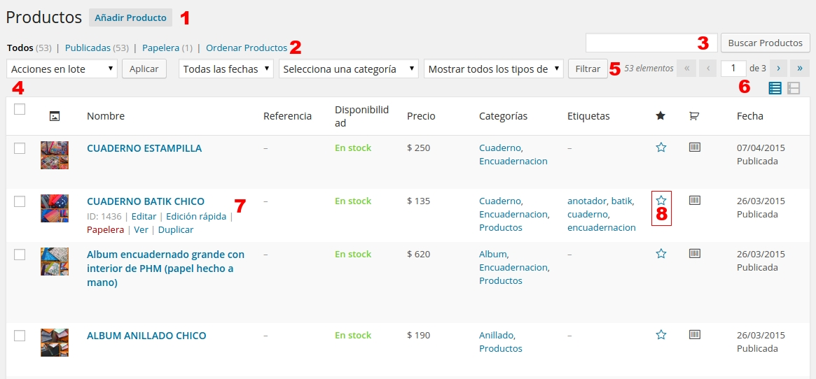 woo commerce productos ver